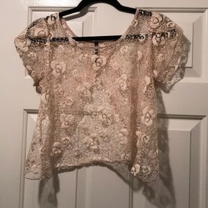 Lace top open back
